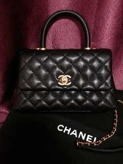 Chanel coco handle 黑色荔枝紋牛皮金扣 24cm