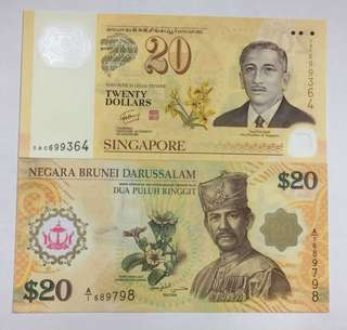 Singapore & Brunei $20 notes