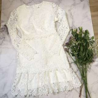Made in Korea Off White Floral Pattern One Piece Dress
