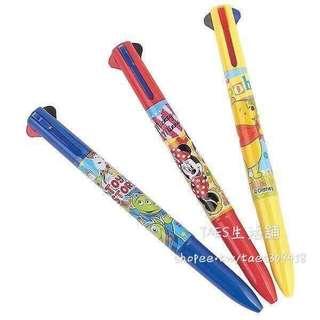🚚 正版授權 日本 迪士尼 MINNIE 米妮 維尼 三眼怪 三色原子筆 按壓原子筆 藍筆 紅筆 黑筆 原子筆