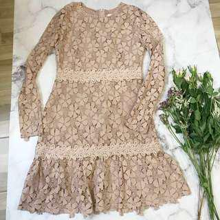 Made in Korea Nude Pink Floral Lace One Piece Dreas