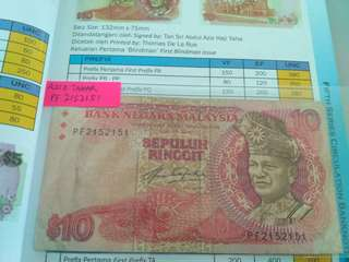 Aziz tahar sign, Old Note $10.00 Ringgit