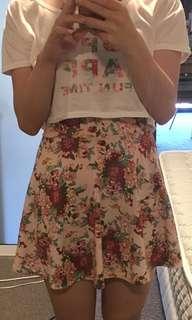 Pink floral crop top tee and dresses