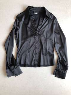 Satin Twisted Button Shirt