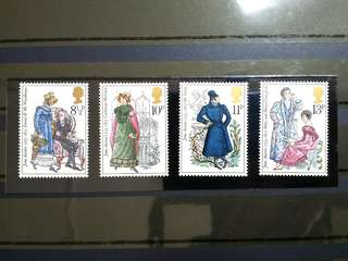 British Royal Mail Mint Stamps: Birth Bicentenary of Jane Austen (Novelist), 22nd Oct 1975, Set of 4 in fine mint condition (Great Britain GB)
