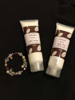 Lavender lotion with complementary bracelet