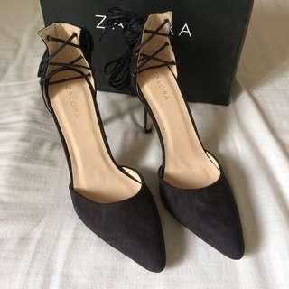 Zalora Black Lace Up Heels #70fashion
