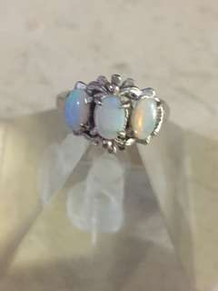 Blue crystal opal ring antique