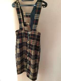 Vintage overall /dress kotak-kotak