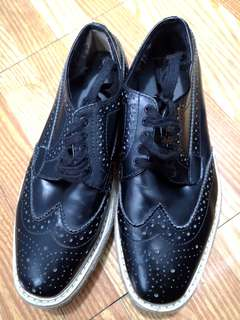 Black Wingtip Brogue Platform Sneaker Lace Leather 34 Oxford Flats