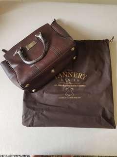 The Tannery Manila Leather Serena Brown Crocodilio Bag
