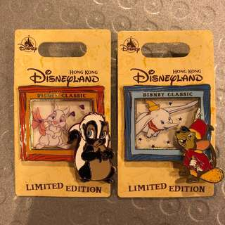 迪士尼徽章 Disney Pin Disney LE 迪士尼襟章 迪士尼徽章交換 Dumbo Timothy Miss Skunk Miss Bunny