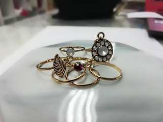 Gold Midi Rings Set