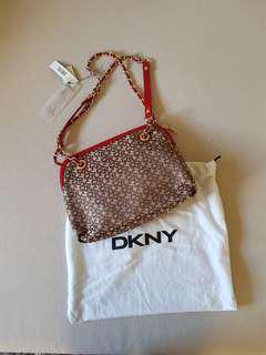 DKNY Patterned Handbag with Chain Metal Strap