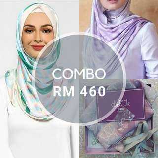 Duckscarves The Geometric Duck Pink Feather + The Alhambra Duck instant shawl in Lilac