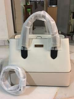 Original Brand New Kate Spade Evangelie Handbag with Long Strap - White & Beige