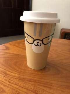 🚚 可愛動物雙層陶瓷杯-貓咪款