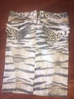 Animal Print Knee Length Denim Skirt
