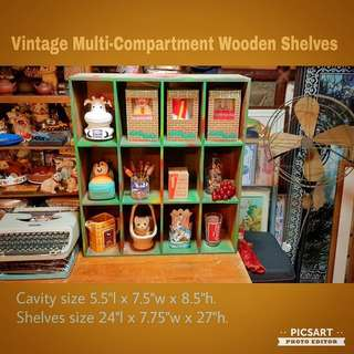 Vintage Multi-Compartment Wooden Display Shelves, Wall-hang or Desk-Top. Size as in photo. $18 Clearance Offer! Sms 96337309.