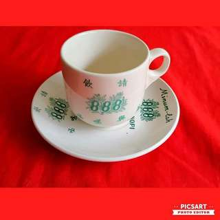 Vintage 888 Kopitiam Cup & Saucers with Advertisement or Logo. Good Condition, no chip no crack. Not for Sale, For trade with kopitiam tea cup of other brands. Sms 96337309.