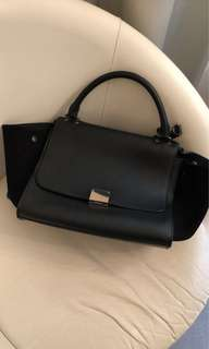 Authentic Celine Trapeze Black Leather with Silver Hardware