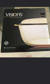 Brand New Visions Glass Cooking Pot 4L with box
