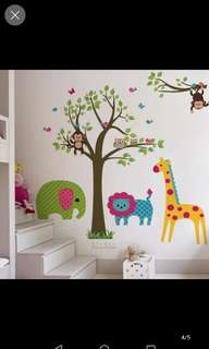 Removable cartoon tree cute animal wall stickers children's room decoration kindergarten background layout waterproof stickers