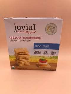 美國直送 全新  Jovial Organic Sourdough Einkorn Crackers Sea Salt 4.5 OZ (128g)