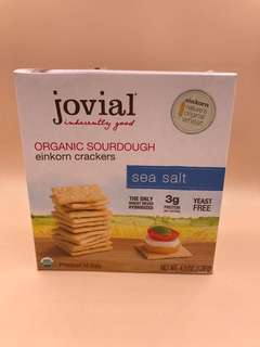 美國直送 全新  Jovial Organic Sourdough Einkorn Crackers Sea Salt 4.5 OZ (128g)
