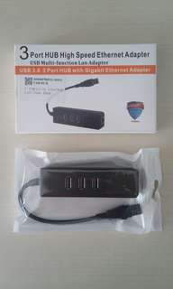USB 3.0 3 Port Hub with Gigabit Ethernet Adapter for sale