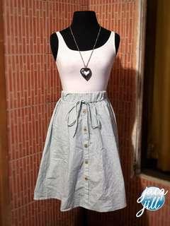 Green-striped skirt