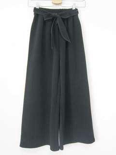 🚚 黑色氣質彈性寬褲九分褲(附腰帶)