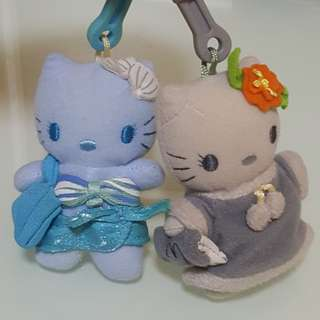 Hello Kitty Plush Keychains 2001 McDonalds collection (summer & winter)