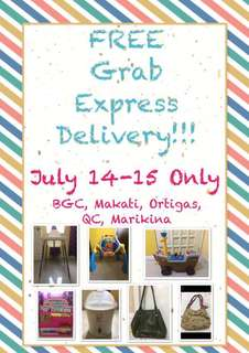 FREE GRAB EXPRESS DELIVERY JULY 14-15 (highchair, sterlizer, bag, book organizer,  toy car, play gym)