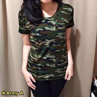 Kaos Wanita Motif Army Loreng