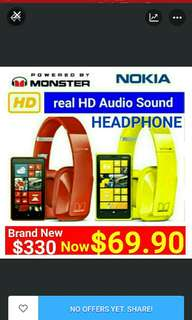 Monster Powered Foldable  HEADPHONE with High Definition +  Mic for smartphones/Tablet/Notebook (Model: NOKIA PURITY HD) Usual Price: $ 330 Special Price: $69.90 ( Brand New In Box  & Sealed)