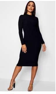 Ribbed midi black dress