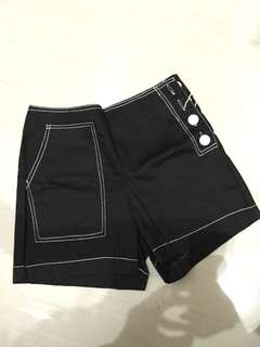 BLACK BUTTONED SHORTS