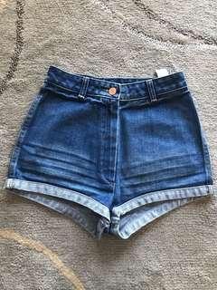 Sass and Bide high waisted denim shorts