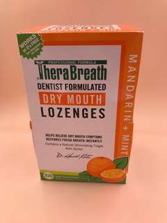 美國直送 限量版 全新 THERA BREATH DRY MOUTH )LOZENGES 薄荷糖 (100PCS) Sugar Free