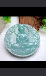 🍀Grade A 冰糯 Green Goddess of Mercy Guanyin 观音 Jadeite Jade Pendant/Display