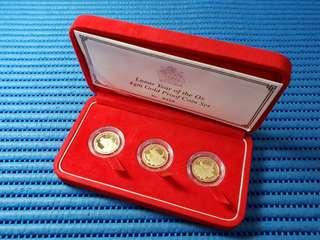 "Valcambi sa Switzerland 2009 Malawi 75 Kwacha Lunar Year of the Ox ""Fu"", ""Lu"", ""Shou"" 3X 4gm Gold Proof Coin Set"