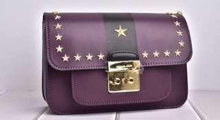 NEW❤MK Leather Bag 🌟星星窩釘牛皮袋