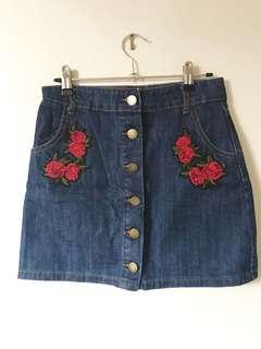 Flower Jean skirt