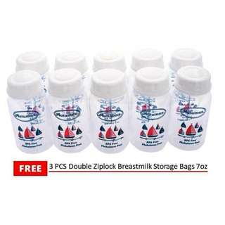 Autumnz Breast Milk Storage Bottles - 10pcs of 5oz; free 3pcs 7oz storage bags