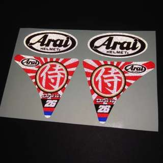 Arai Japan Samurai Helmet Sticker Reflective Decal Set