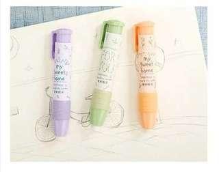 Push up eraser pen