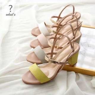 🚚 Korea 👡 極美細帶金屬裝飾名媛高跟涼鞋