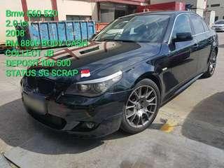 Bmw E60 520 2.0 lci 2008 RM 8800 BODY CASH COLLECT JB DEPOSIT RM 500 STATUS SG SCRAP 🇸🇬