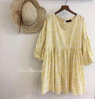 全新黃色蓬蓬袖洋裝